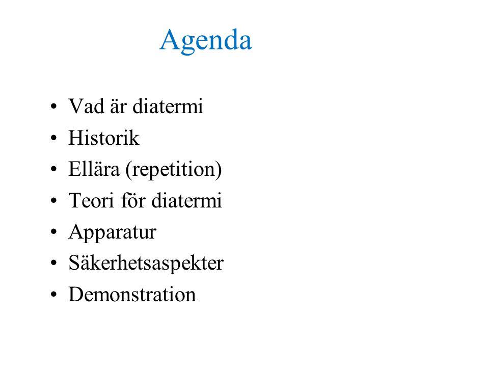 Agenda Vad är diatermi Historik Ellära (repetition) Teori för diatermi