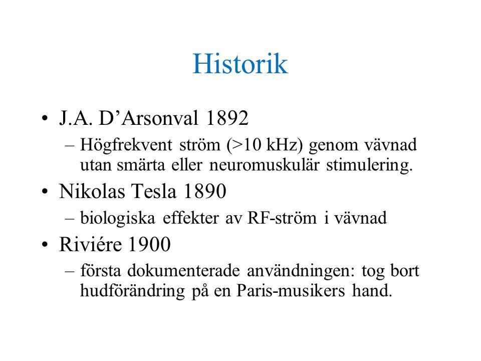 Historik J.A. D'Arsonval 1892 Nikolas Tesla 1890 Riviére 1900