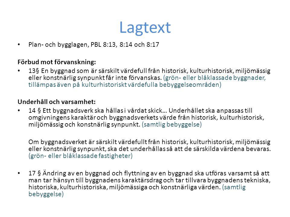 Lagtext Plan- och bygglagen, PBL 8:13, 8:14 och 8:17