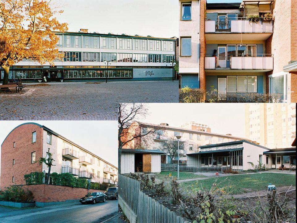 Bild 20. Arkitekten Carl-Axel Acking har format de sjutton byggnaderna med tidstypiska men ändå unika karaktärsdrag, alltifrån låghusens sparsmakat välvda takform till de betongkrönta punkthusen, allt sammanhållet av de ljust röda tegelfasaderna. Särskilt bör nämnas en friliggande daghemsbyggnad, den markanta f.d. matsalsflygeln, glasade förbindelsegångar och skyddande gårdsrum.