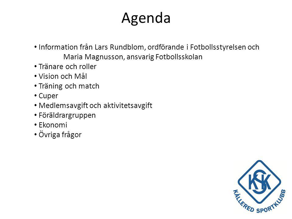 Agenda Information från Lars Rundblom, ordförande i Fotbollsstyrelsen och Maria Magnusson, ansvarig Fotbollsskolan.