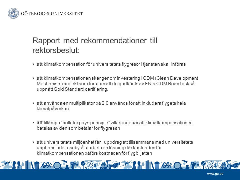 Rapport med rekommendationer till rektorsbeslut: