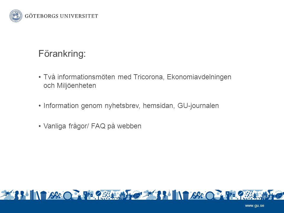 Förankring: Två informationsmöten med Tricorona, Ekonomiavdelningen och Miljöenheten. Information genom nyhetsbrev, hemsidan, GU-journalen.
