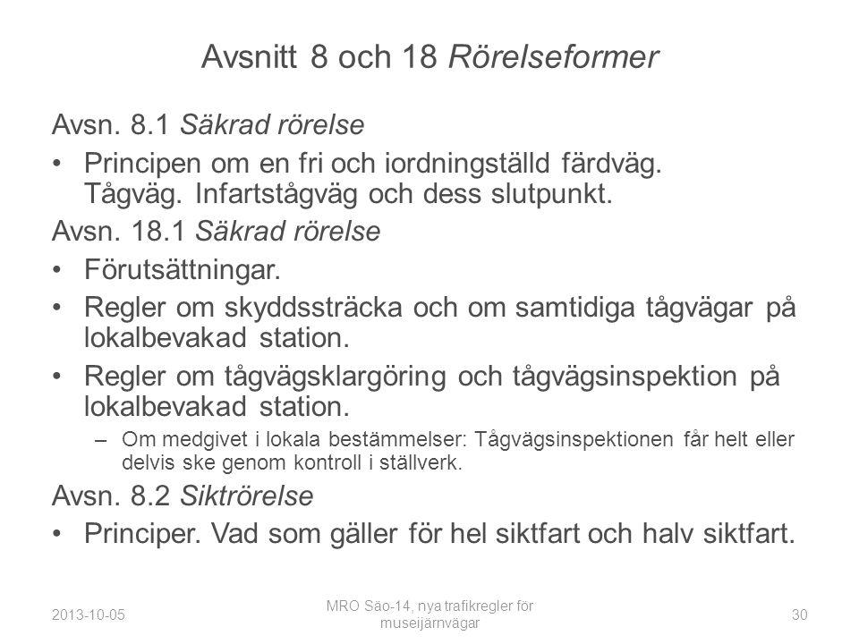 Avsnitt 8 och 18 Rörelseformer