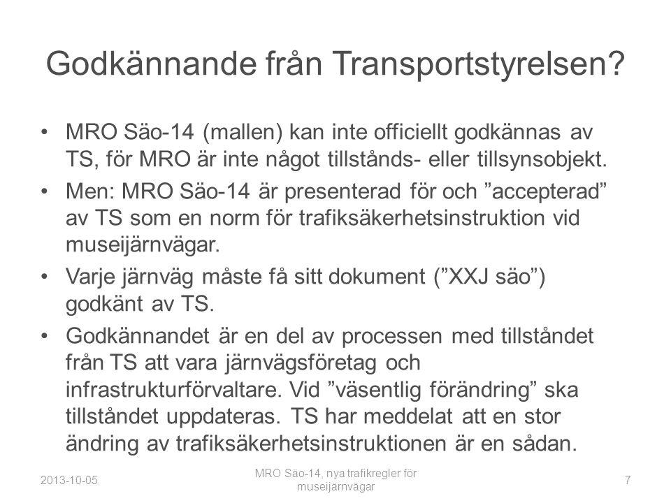 Godkännande från Transportstyrelsen