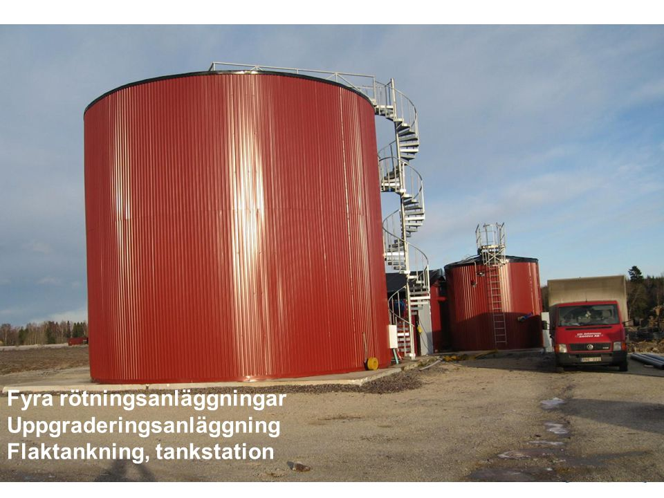 Fyra rötningsanläggningar Uppgraderingsanläggning Flaktankning, tankstation