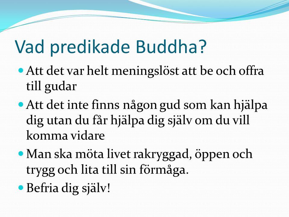 Vad predikade Buddha Att det var helt meningslöst att be och offra till gudar.