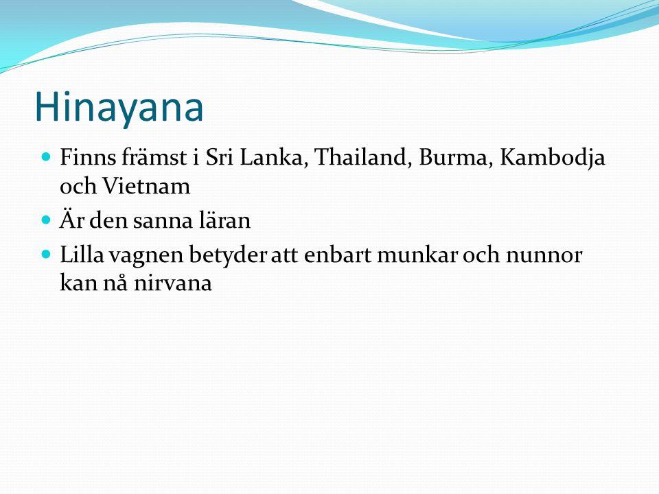Hinayana Finns främst i Sri Lanka, Thailand, Burma, Kambodja och Vietnam. Är den sanna läran.