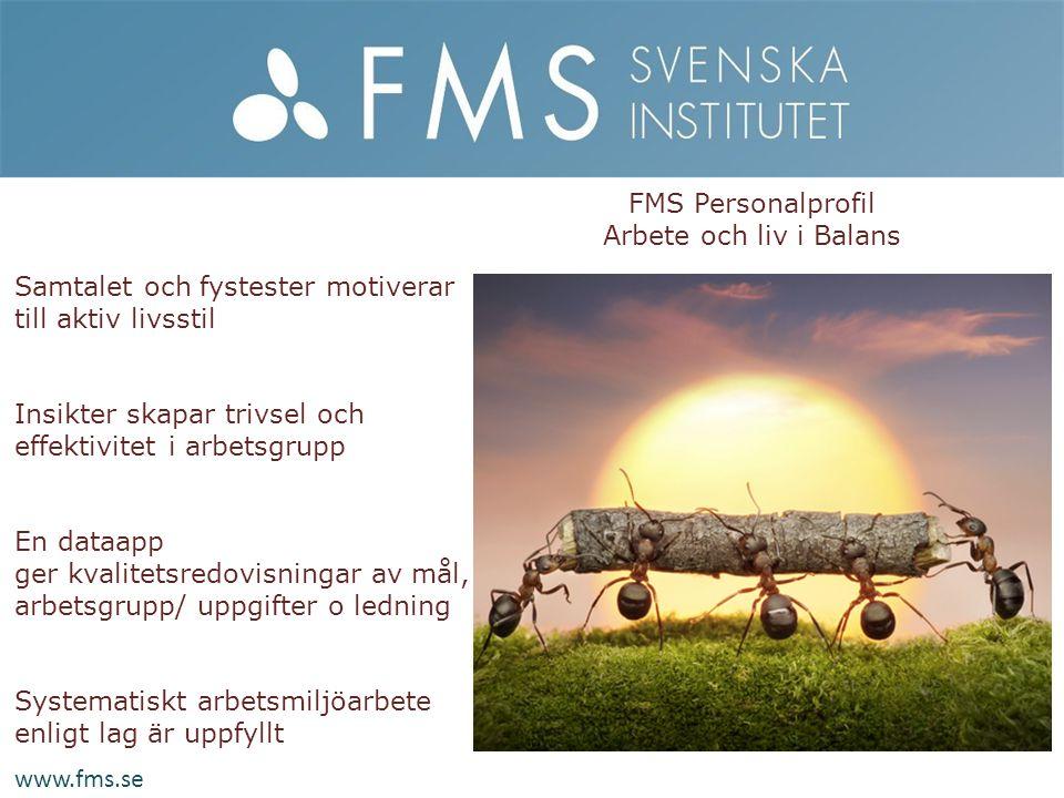 FMS Personalprofil Arbete och liv i Balans. Samtalet och fystester motiverar till aktiv livsstil.