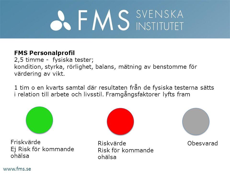 FMS Personalprofil 2,5 timme - fysiska tester; kondition, styrka, rörlighet, balans, mätning av benstomme för värdering av vikt.