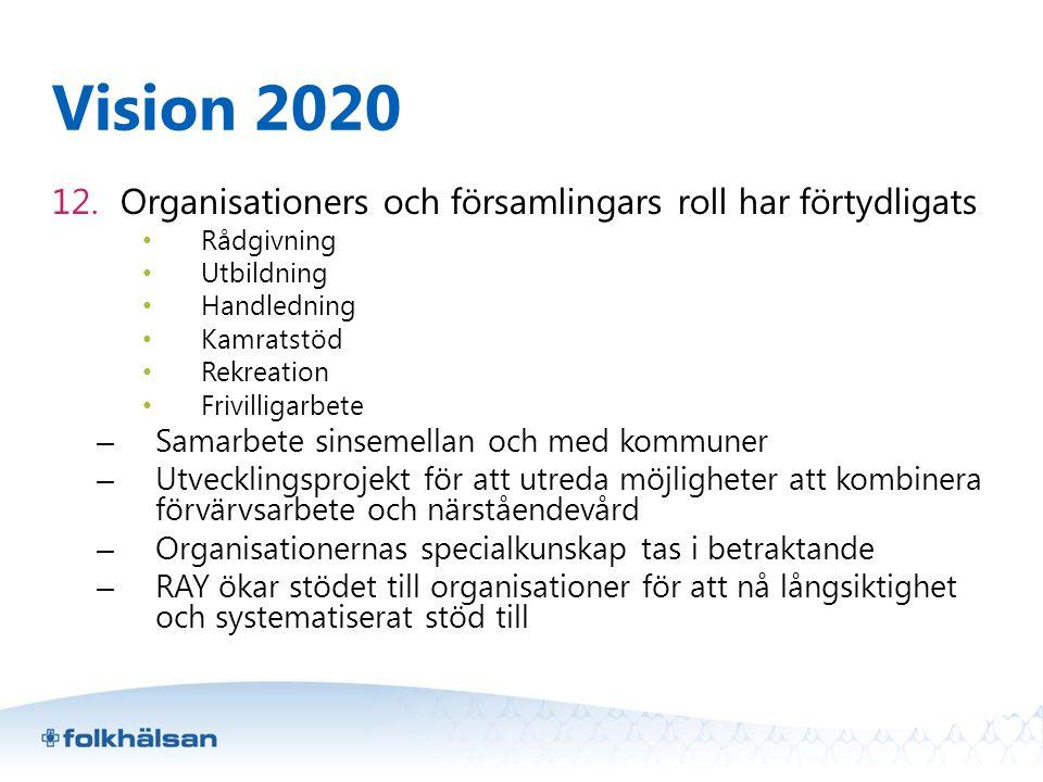 Vision 2020 Organisationers och församlingars roll har förtydligats