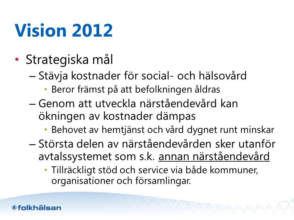Vision 2012 Strategiska mål Stävja kostnader för social- och hälsovård