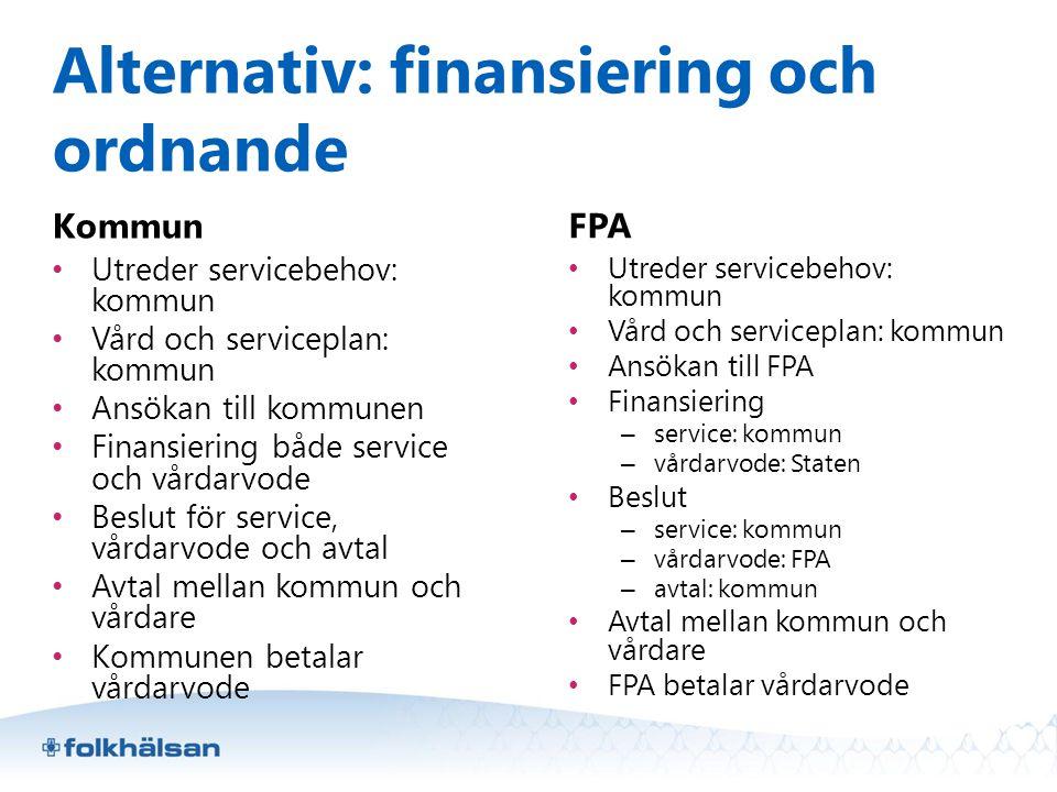 Alternativ: finansiering och ordnande