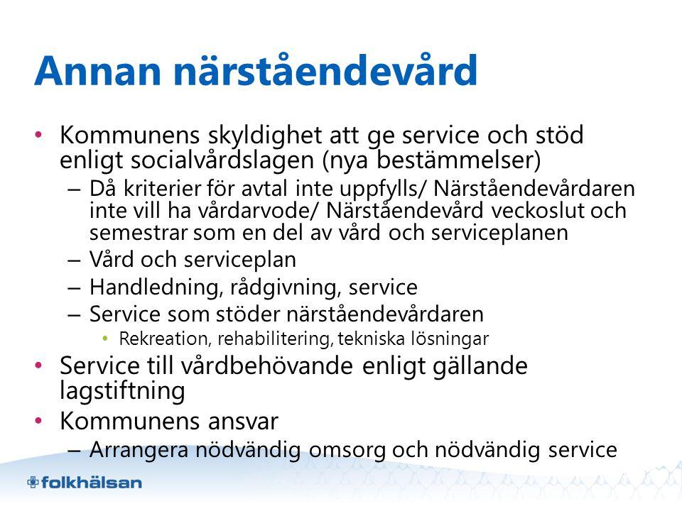Annan närståendevård Kommunens skyldighet att ge service och stöd enligt socialvårdslagen (nya bestämmelser)
