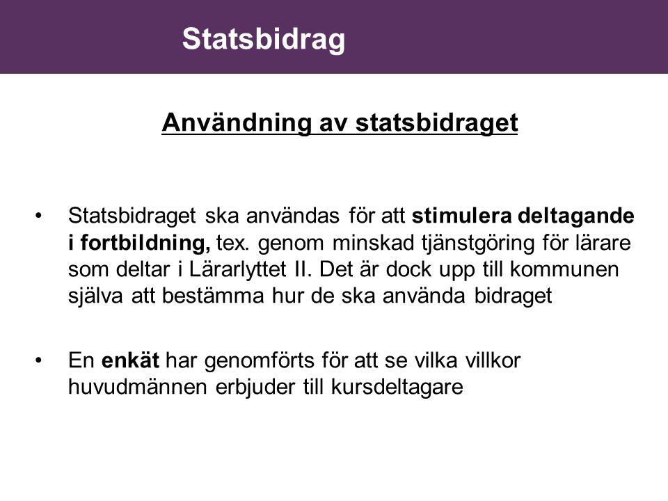 Användning av statsbidraget