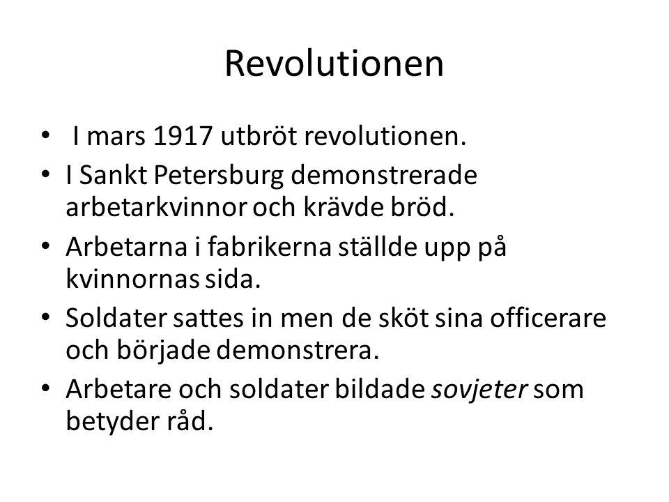 Revolutionen I mars 1917 utbröt revolutionen.