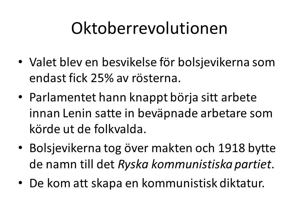 Oktoberrevolutionen Valet blev en besvikelse för bolsjevikerna som endast fick 25% av rösterna.