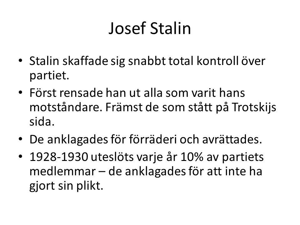 Josef Stalin Stalin skaffade sig snabbt total kontroll över partiet.