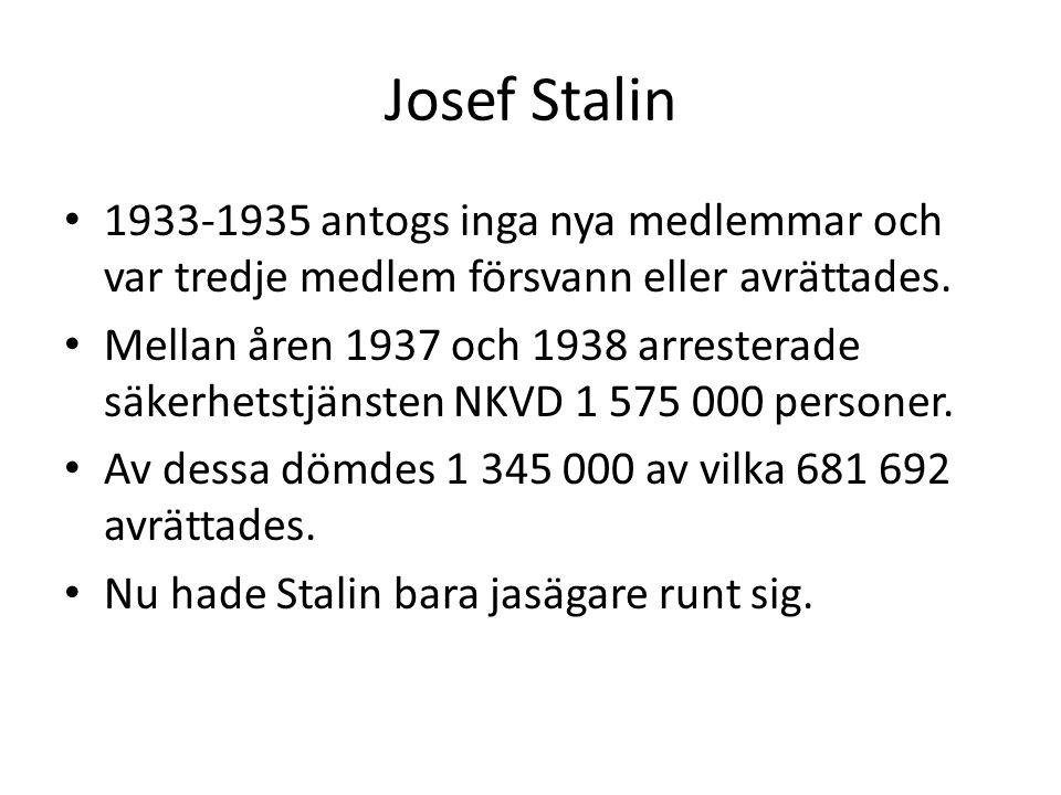 Josef Stalin 1933-1935 antogs inga nya medlemmar och var tredje medlem försvann eller avrättades.