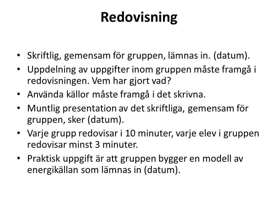 Redovisning Skriftlig, gemensam för gruppen, lämnas in. (datum).