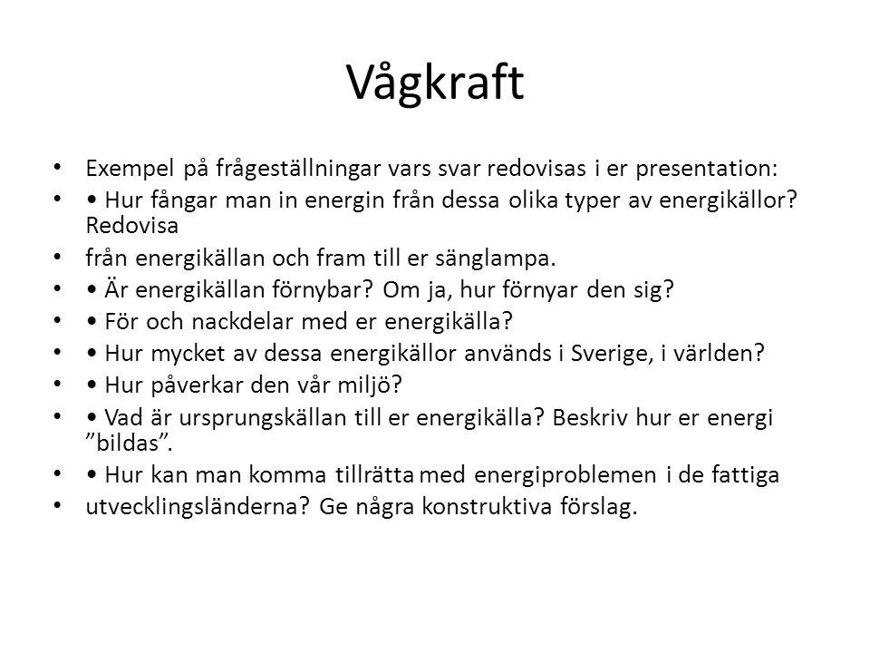 Vågkraft Exempel på frågeställningar vars svar redovisas i er presentation: