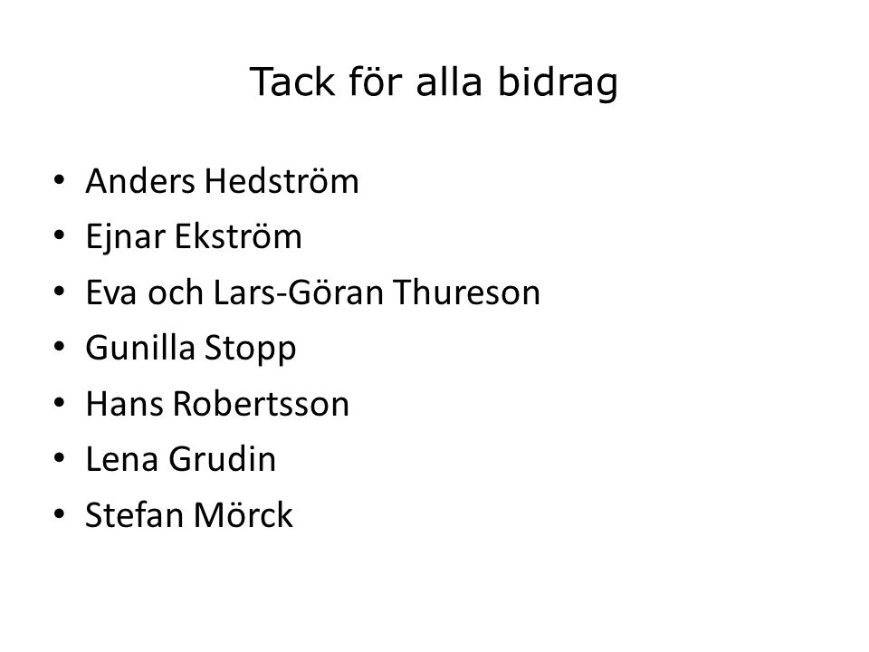 Tack för alla bidrag Anders Hedström. Ejnar Ekström. Eva och Lars-Göran Thureson. Gunilla Stopp.