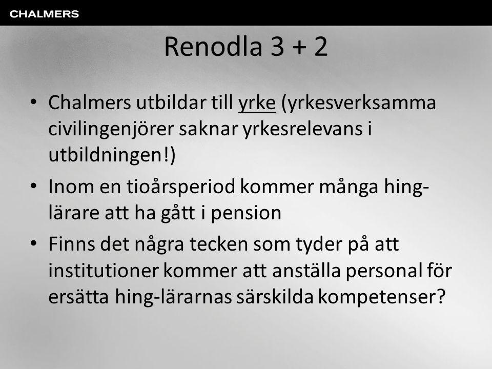 Renodla 3 + 2 Chalmers utbildar till yrke (yrkesverksamma civilingenjörer saknar yrkesrelevans i utbildningen!)