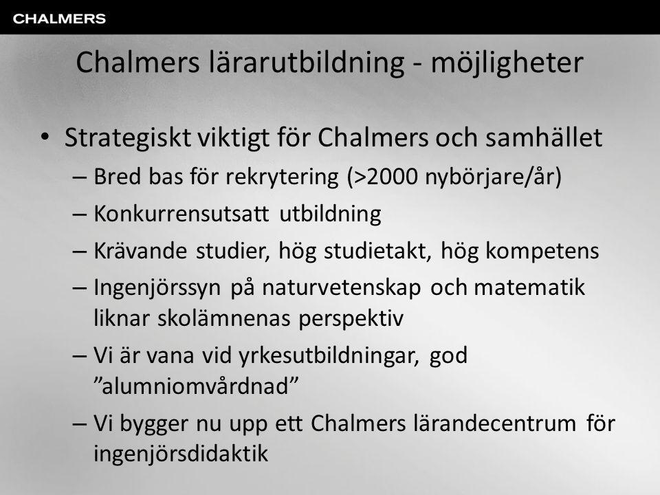 Chalmers lärarutbildning - möjligheter