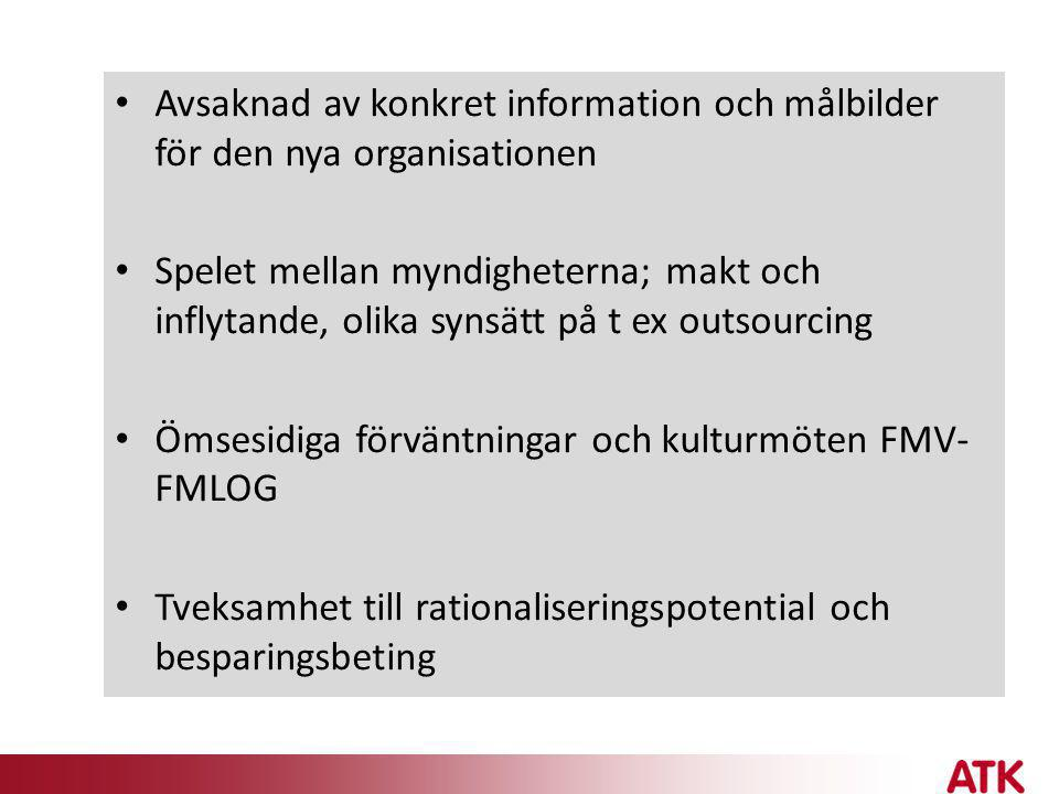 Avsaknad av konkret information och målbilder för den nya organisationen