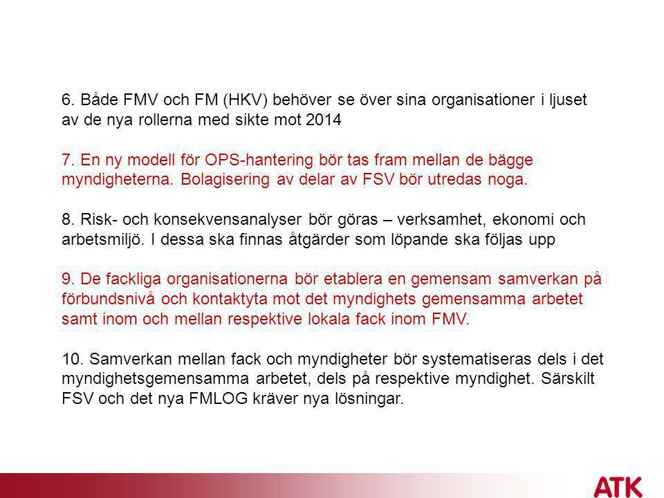 6. Både FMV och FM (HKV) behöver se över sina organisationer i ljuset av de nya rollerna med sikte mot 2014