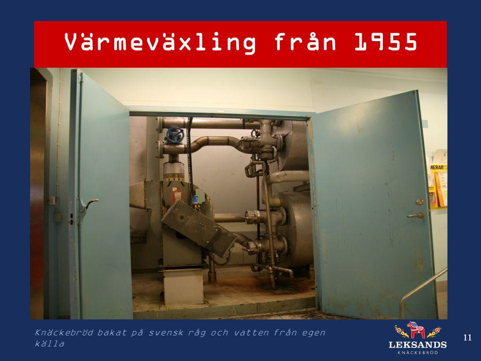 Värmeväxling från 1955 Knäckebröd bakat på svensk råg och vatten från egen källa