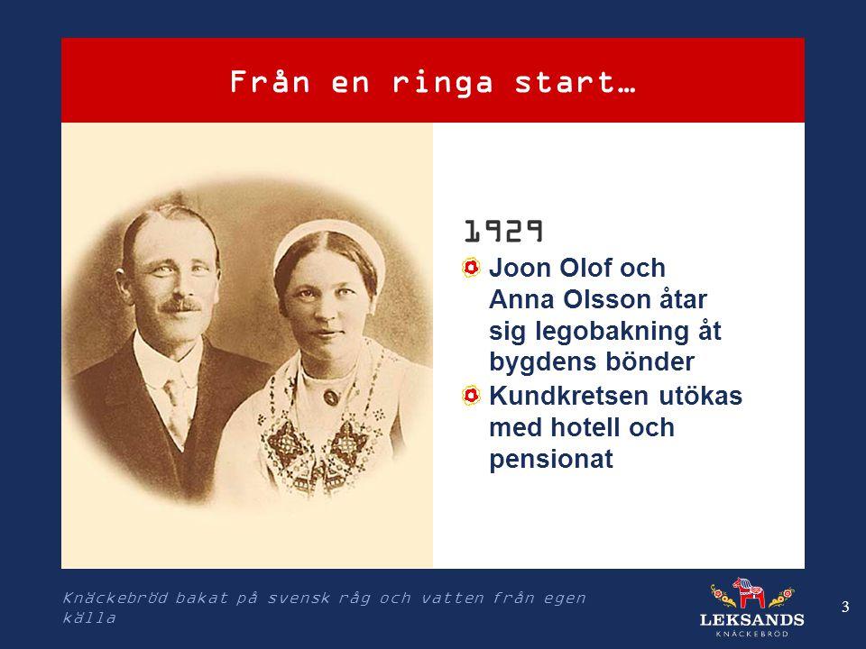 Från en ringa start… 1929. Joon Olof och Anna Olsson åtar sig legobakning åt bygdens bönder. Kundkretsen utökas med hotell och pensionat.