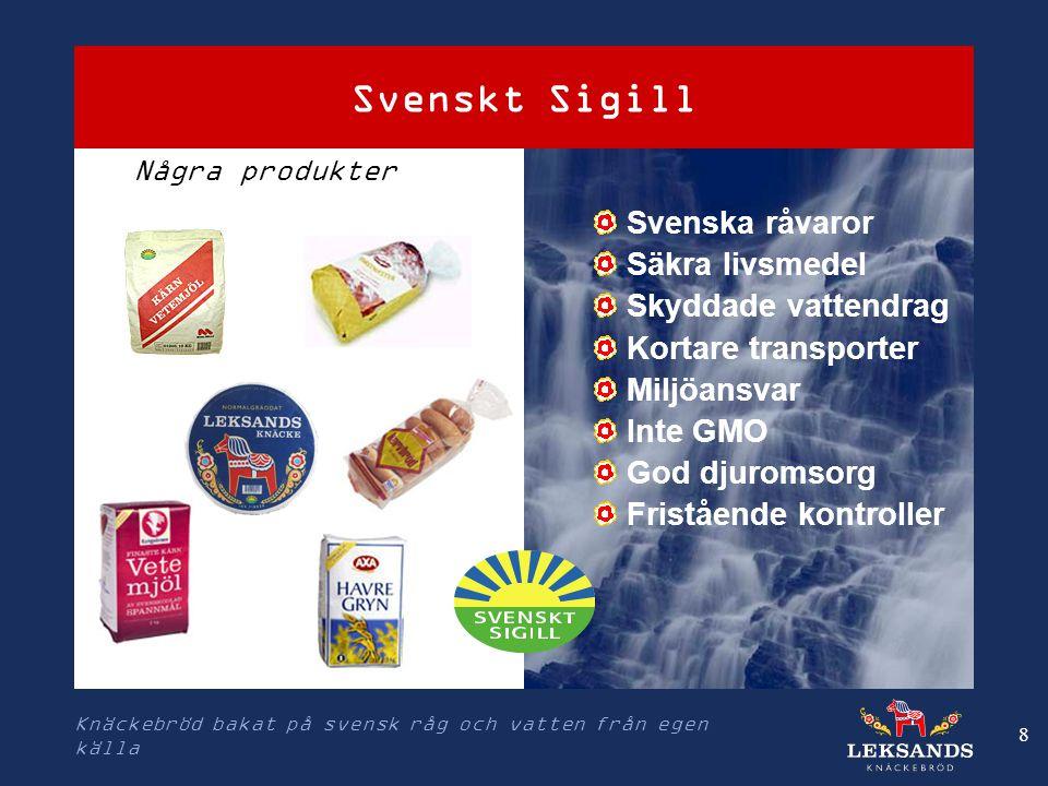 Svenskt Sigill Svenska råvaror Säkra livsmedel Skyddade vattendrag