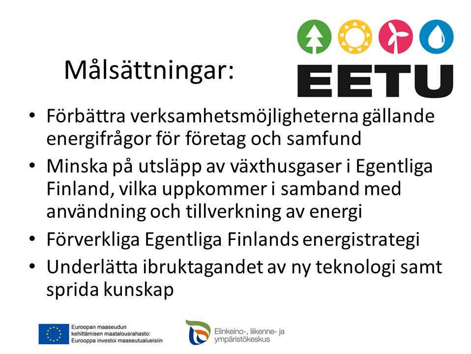 Målsättningar: Förbättra verksamhetsmöjligheterna gällande energifrågor för företag och samfund.
