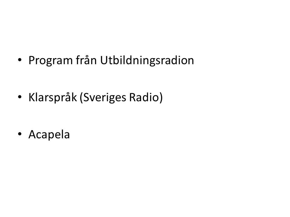 Program från Utbildningsradion