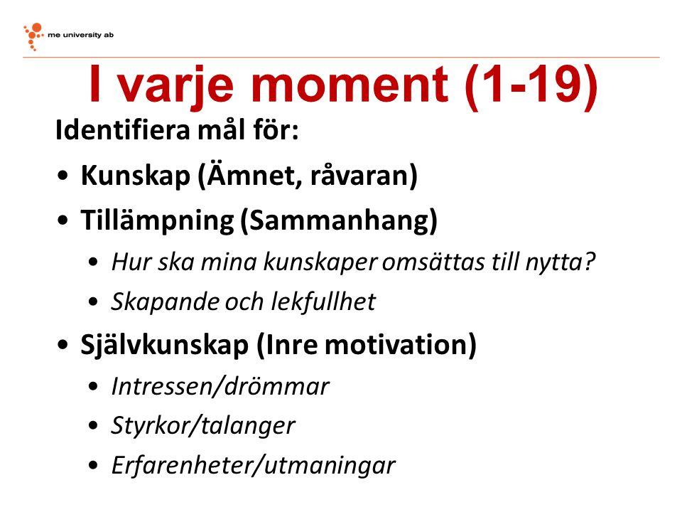 I varje moment (1-19) Identifiera mål för: Kunskap (Ämnet, råvaran)