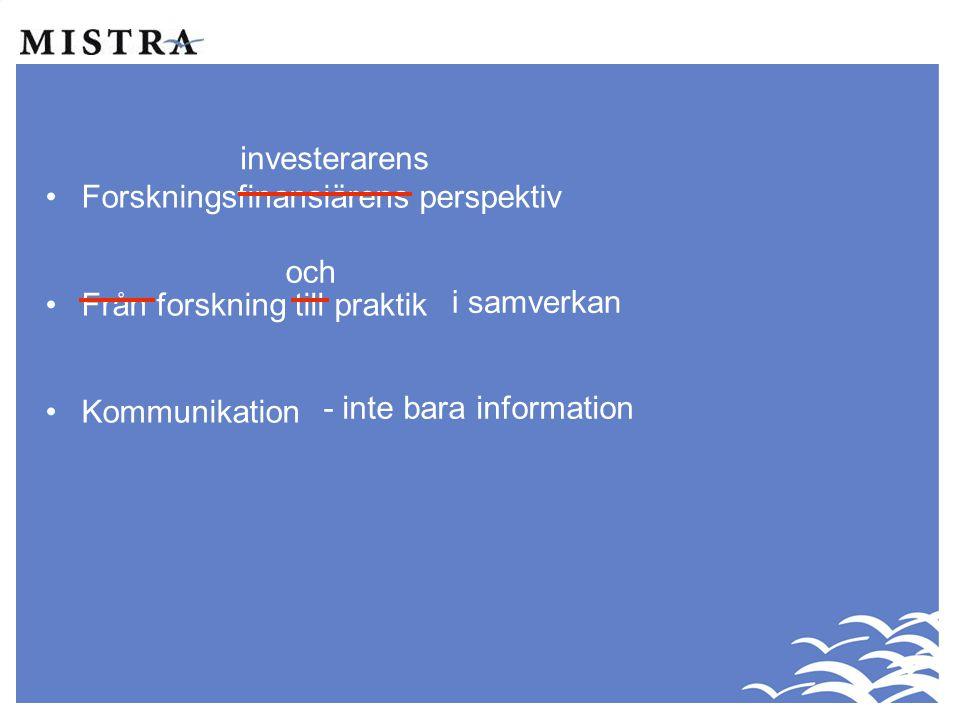 investerarens Forskningsfinansiärens perspektiv. Från forskning till praktik. Kommunikation. och.