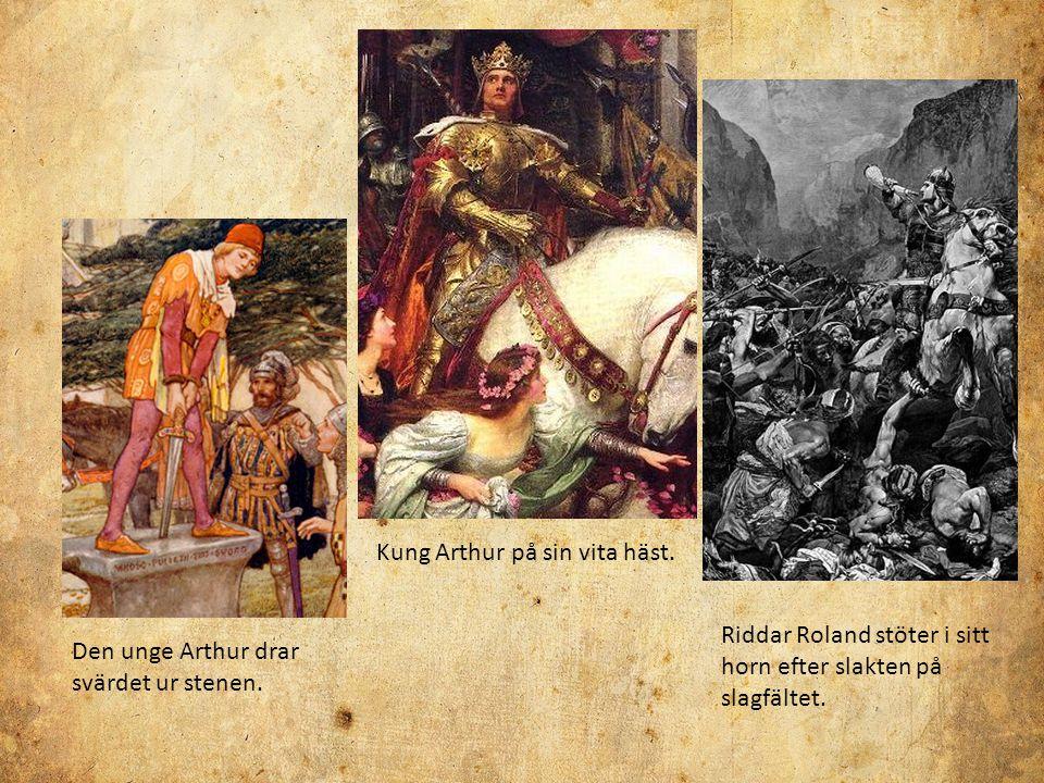 Kung Arthur på sin vita häst.