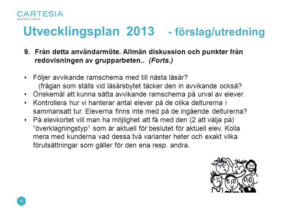 Utvecklingsplan 2013 - förslag/utredning