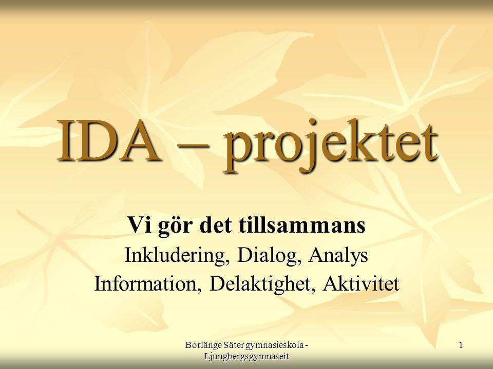 IDA – projektet Vi gör det tillsammans Inkludering, Dialog, Analys