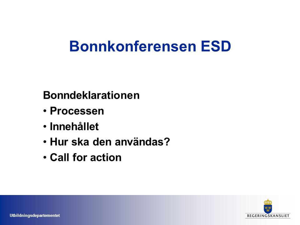 Bonnkonferensen ESD Bonndeklarationen Processen Innehållet