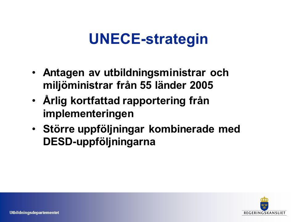 UNECE-strategin Antagen av utbildningsministrar och miljöministrar från 55 länder 2005. Årlig kortfattad rapportering från implementeringen.