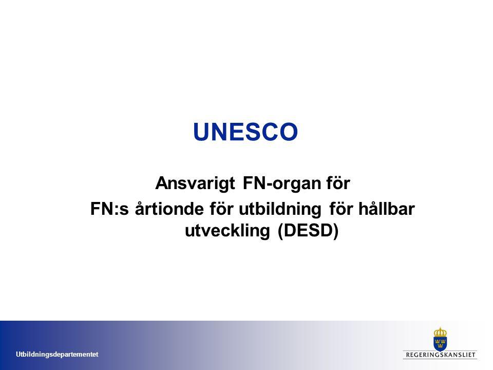 Ansvarigt FN-organ för FN:s årtionde för utbildning för hållbar utveckling (DESD)