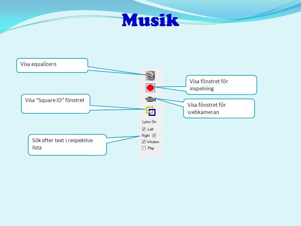 Musik Visa equalizern Visa fönstret för inspelning