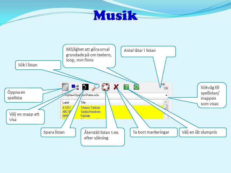 Musik Möjlighet att göra urval grundade på om textern, loop, mm finns