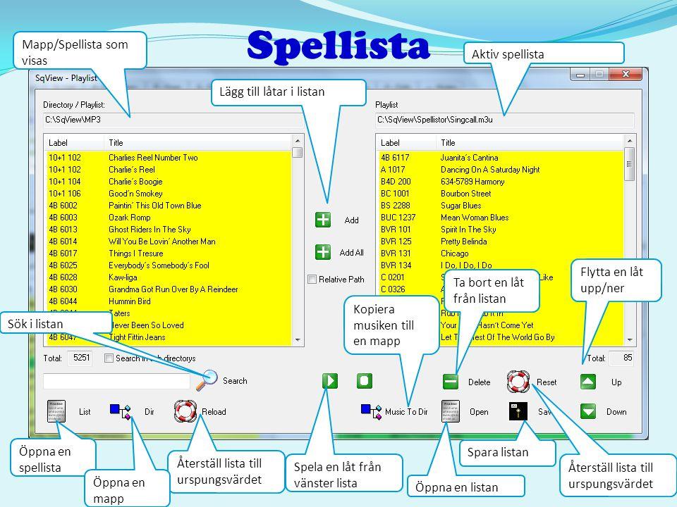 Spellista Mapp/Spellista som visas Aktiv spellista