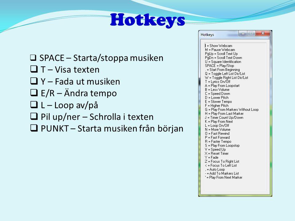 Hotkeys T – Visa texten Y – Fada ut musiken E/R – Ändra tempo
