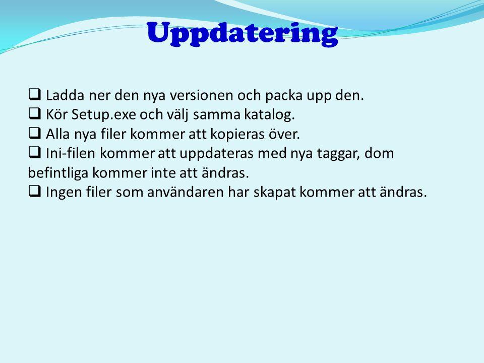 Uppdatering Ladda ner den nya versionen och packa upp den.
