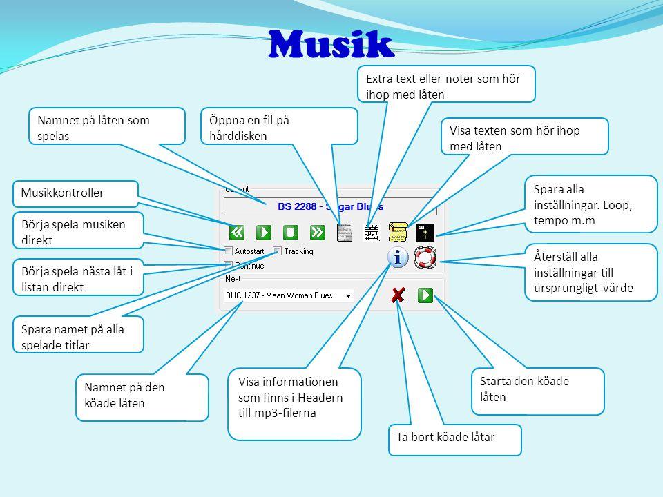 Musik Extra text eller noter som hör ihop med låten
