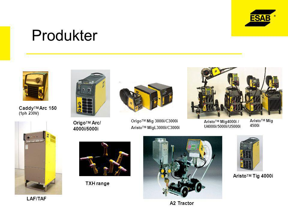 Produkter CaddyTM Arc 150 OrigoTM Arc/ 4000i/5000i AristoTM Tig 4000i